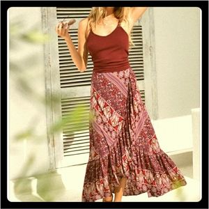 Le Salty Label Boho Wrap Maxi in Sangria Size XS